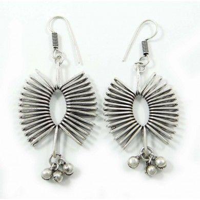 Silvertone Tribal Design Metal Earring Set Women Indian Fashion Jewellry Gift