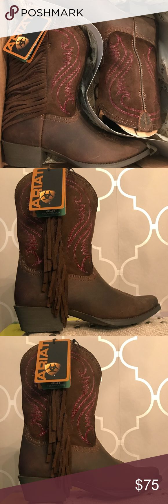 Girls brown and pink cowboy boots Brand new never worn! Size 3 in kids size! In the box still! Ariat Shoes Boots