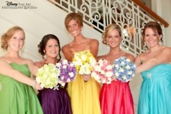 i really like this idea!Colors Bridesmaid, Disney Wedding, Colors Wedding, Disney Fairies, Bridesmaid Dresses, Flower Ideas, Bridal Parties, Bridesmaid Bouquets, Disney Bridesmaid