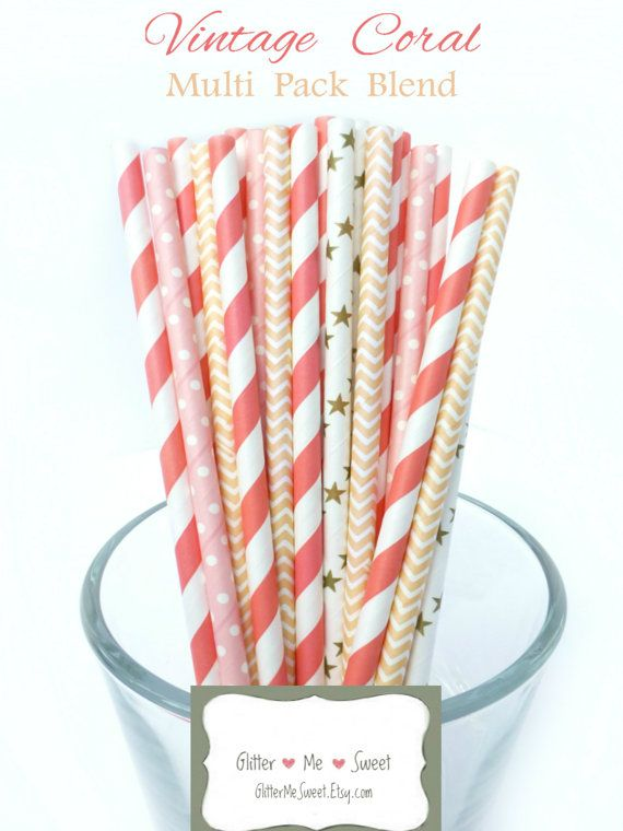 Coral Paper Straws  Peach Paper Straws  Coral by GlitterMeSweet