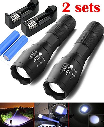 Ledsniper 2Pcs brightest Flashlight Tac Light with 5 Modes  Zoom Function with battery charger >>> Read more reviews of the product by visiting the link on the image.(This is an Amazon affiliate link and I receive a commission for the sales)