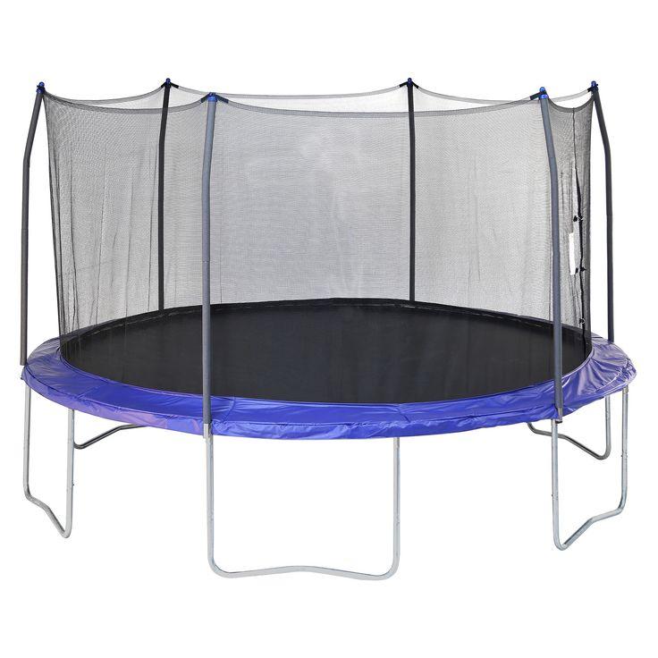 Skywalker Trampolines 15' Round Trampoline with Enclosure – Blue