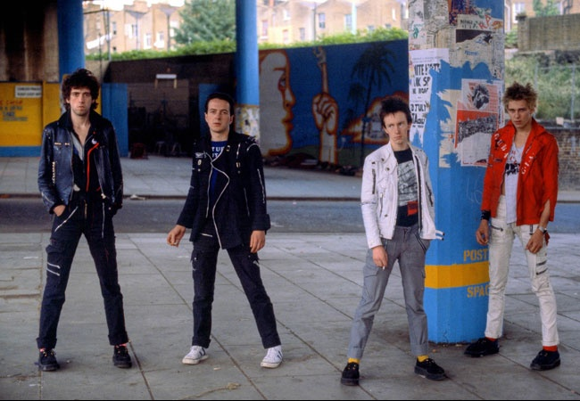 The Clash pose under the Westway on Portobello Road, 1977.