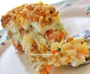 gelinimiz jane'den öğrendiğim rus mutfağına ait nefis bir salata. salatanın harcında dileyenler lahana yerine ton balığı v...