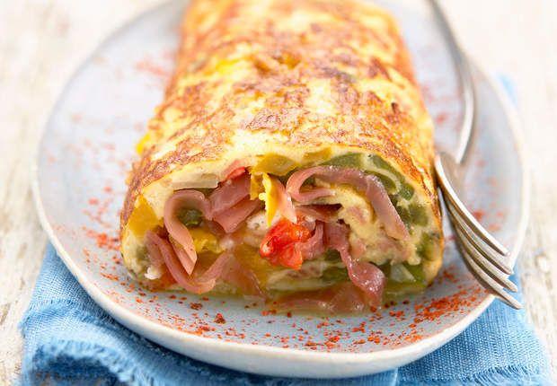 Omelette roulée au jambon de BayonneVoir la recette de l'Omelette roulée au jambon de Bayonne >>