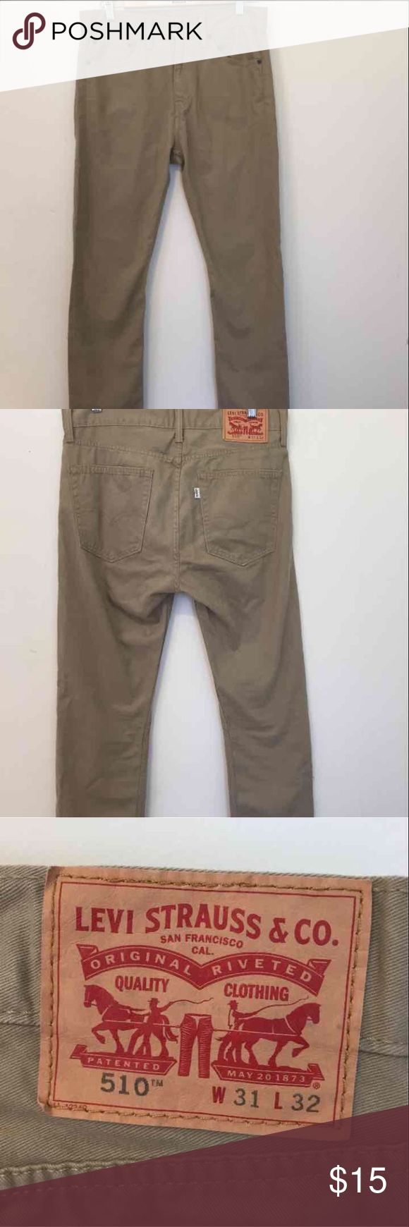 Levi's 510 British khaki boy skinny jean Size: W31 L32. Very nice pair of khakis. Only worn once. Levi's Pants Chinos & Khakis