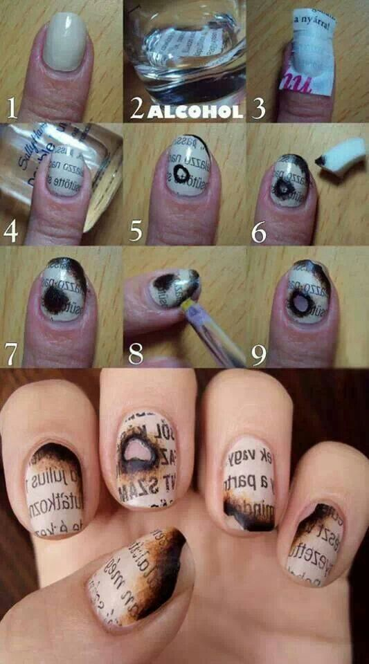 very creative twist on newspaper nails