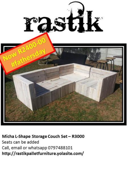 Micha L-Shape Storage Couch Set – R3000  Seats can be addedCall, email or whatsapp0797488101http://rastikpalletfurniture.yolasite.com/
