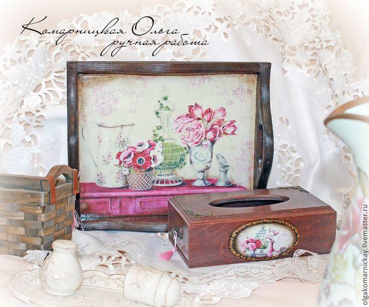 Купить Набор Розовые розы.Поднос. Салфетница. - разноцветный, набор, набор для кухни, набор для творчества