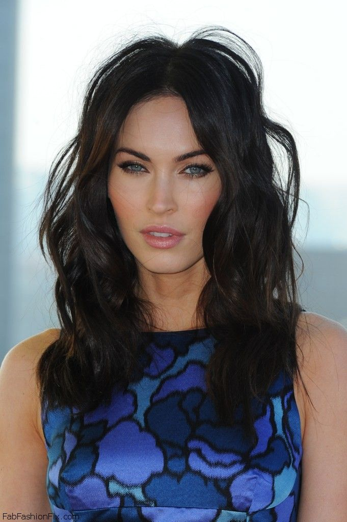 "Gorgeous Megan Fox with black wavy hair at photocall for her latest movie ""Teenage Mutant Ninja Turtles"" in Berlin (October 2014). #meganfox"
