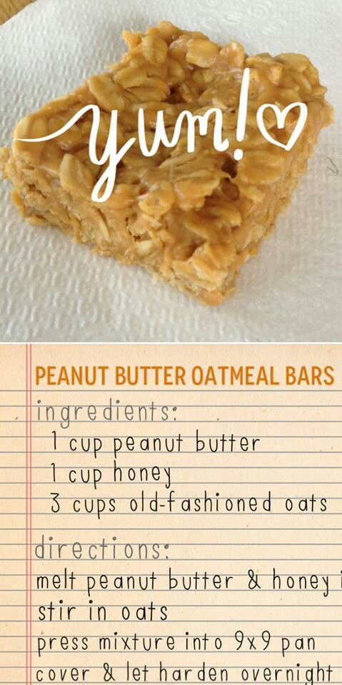 peanut butter oatmeal bars K says These are good! Next time I would add mini chocolate chips or nuts. Oh, and I couldn't resist... I ate one warm.