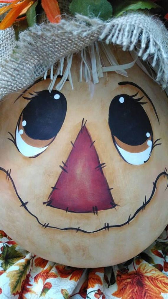 Fall scarecrow, Scarecrow gourd hand painted This Scarecrow gourd is my original pattern painted on a dried gourd This gourd measures approximately 10 high by 7 diameter. Since the gourd is dried it will not rot and can last a lifetime with proper care and storage. I have spray sealed the paint. This gourd is for indoor use only. The gourds I carefully select from an Amish farm where they are grown and professionally cleaned and dried.