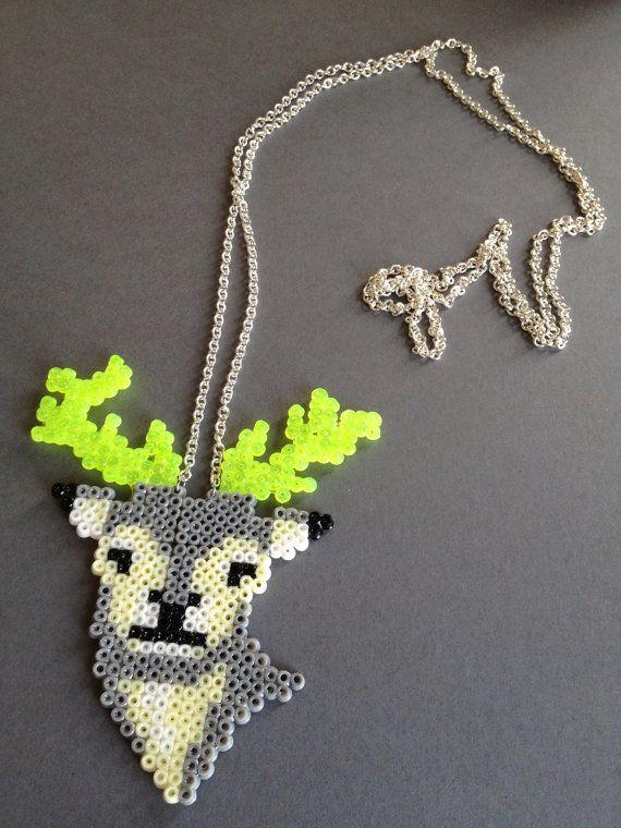 Deer hama mini beads necklace by BriniBaadsgaard on Etsy