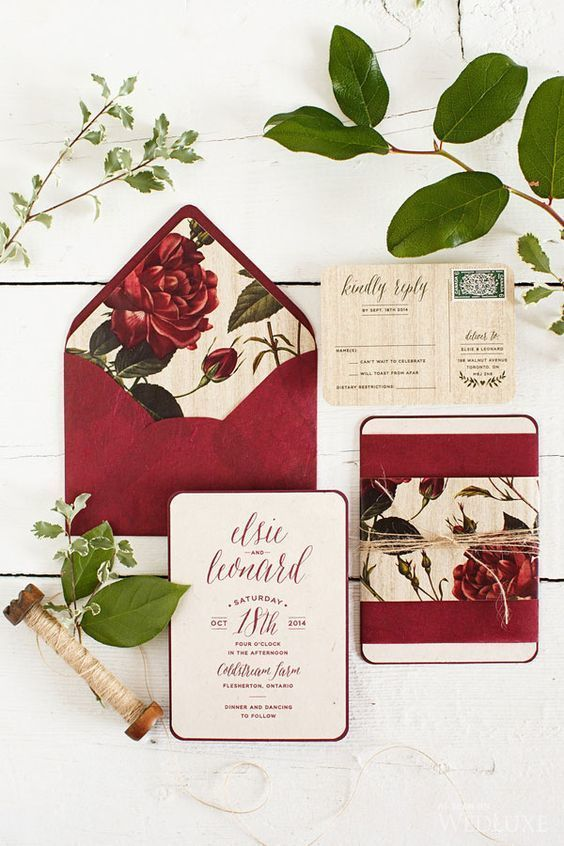 Red Wedding Invitation Suite: Minimalist doesn't mean that it has to be black and white. Check out this wonderful invitation suite that has so much going for it: vintage print accents, an off-white background, and dark red print in a trendy font. | Gorgeous Ideas for a Red Wedding Palette