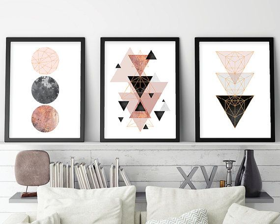 Set of 3 prints, Minimalist Poster, Scandinavian, Scandinavian Modern, Scandinavian Print, Geometric Print, Geometric Poster, Rose Gold