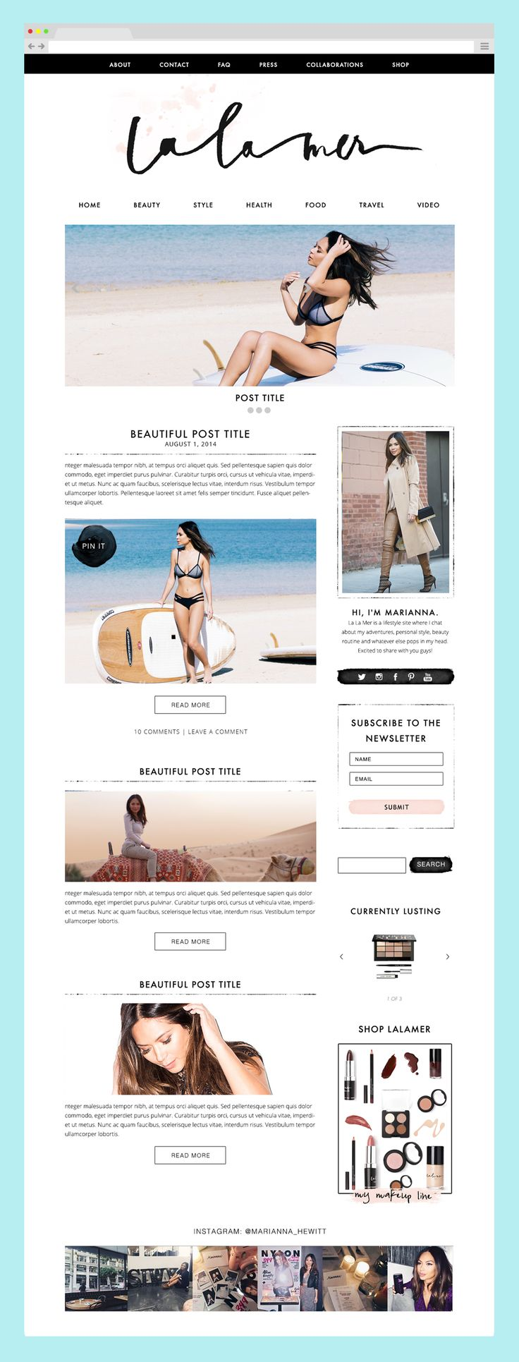 Blog Design for La La Mer / Marianna Hewitt by The Nectar Collective #blogdesign #branding