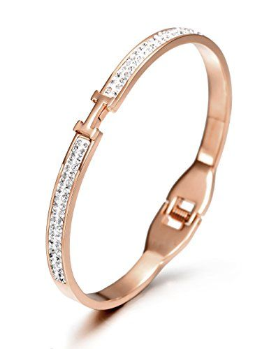 #Wistic Women's #Stainless #Steel #Gold #Plated #Crystal #Bangle #Bracelet Made with #stainless #steel and #gold #plated, Lead-Free& Nickel-Free, no allergic and no harm to your health. Weight: 13.7 The Sparkling #bangle is perfect for any gift giving occasion, great gift for girlfriend, wife, daughter, mom or friends on Valentines Day, Christmas Day, Birthday, Anniversary, Thanksgiving Day, etc, or just as a surprise to remind that special one how much you care! Come in an