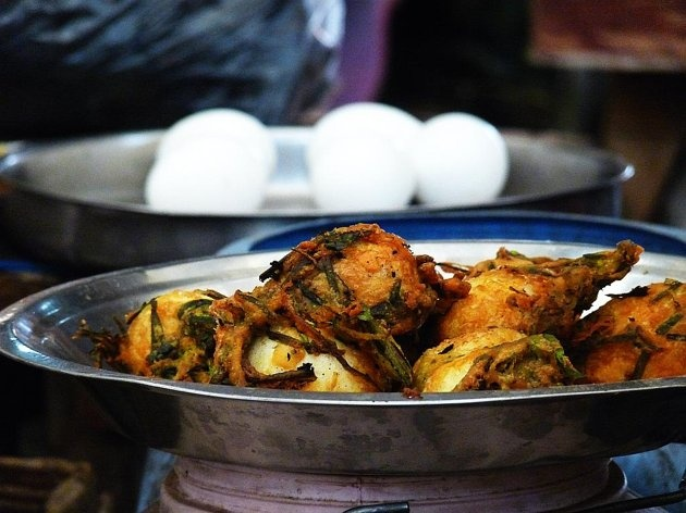 Egg pakoras waiting to be eaten at Manipur's Ima Keithel, Asia's second-largest women's market