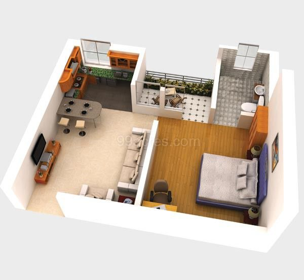 158 best 3 d small house plans images on pinterest small for 500 square feet apartment floor plan
