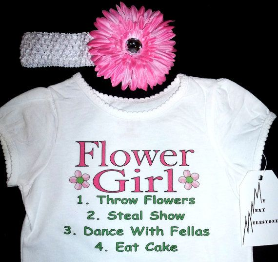 Flower Girl Wedding Onesie or T-shirt with Headband Pink Flower clip Set  Personalized with name on back Infant Baby Toddler Youth Sizes on Etsy, $22.00