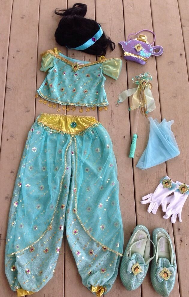 Walt Disney World Kids Princess Jasmine Costume M Medium 7 8 Shoes Hair Gloves