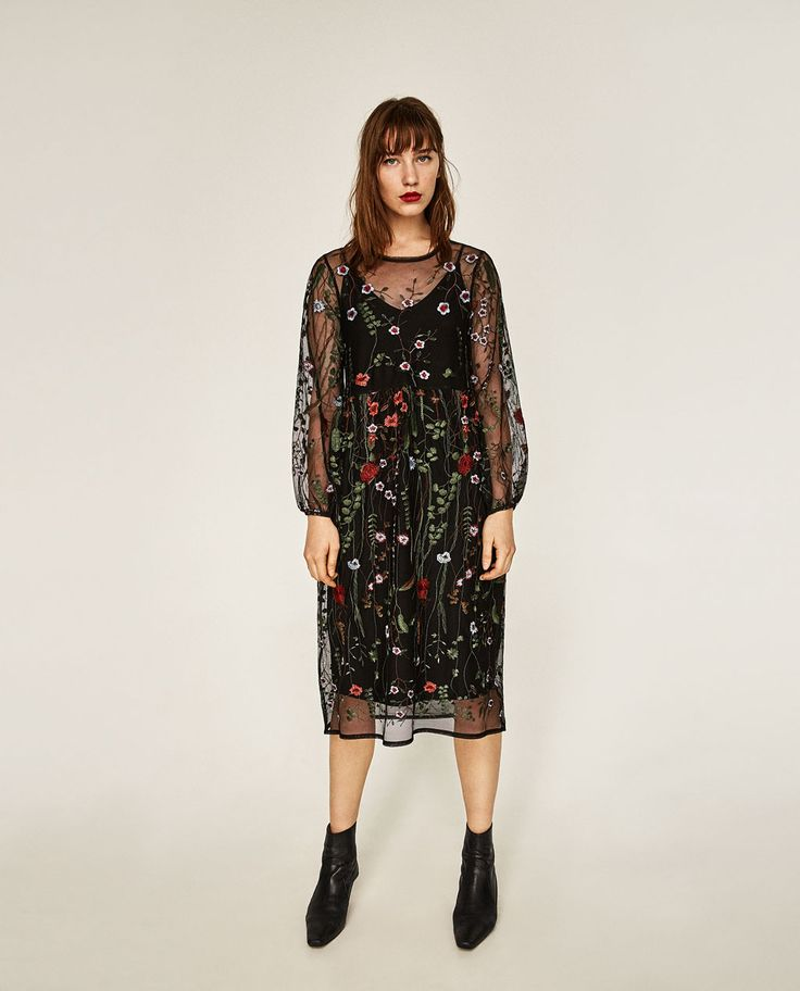 LONG FLORAL EMBROIDERED DRESS-DRESSES-WOMAN-SALE | ZARA United States