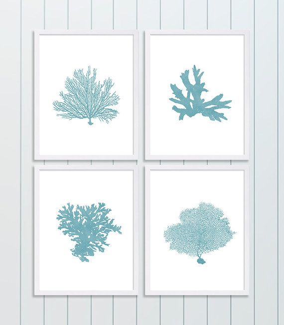 Four Coral Prints Blue Wall Art Living Room by CocoAndJamesHome