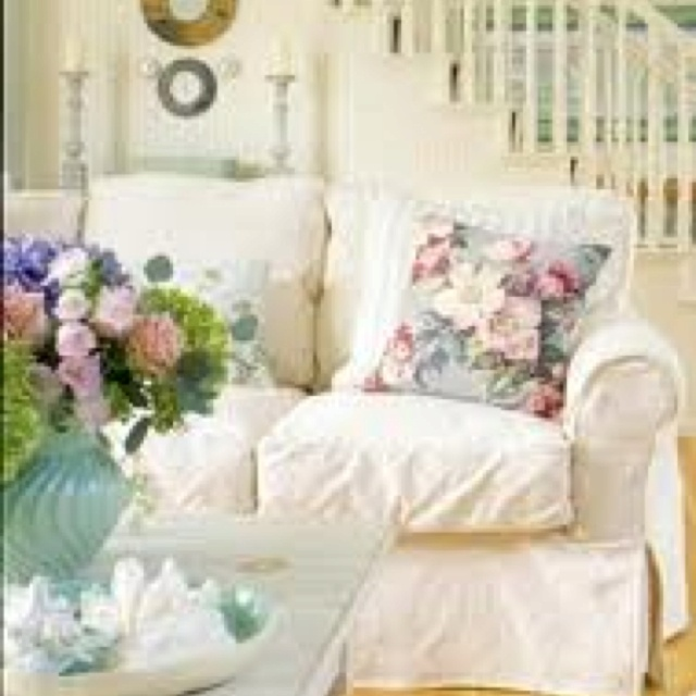 cottage chic maybe i could cover couch like this in the summer living room pinterest. Black Bedroom Furniture Sets. Home Design Ideas