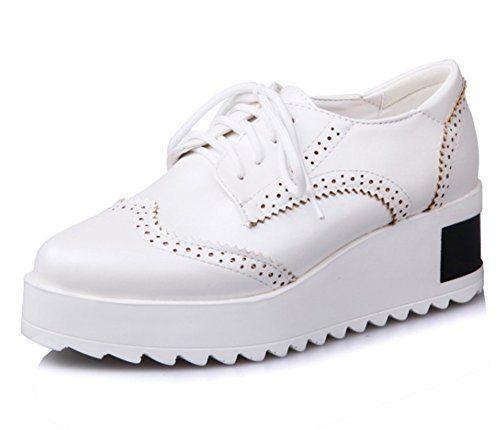 Mofri Mofri Women's Trendy Almond Toe Low Top Medium Wedge Heel Platform Lace up Brogues Oxfords Shoes