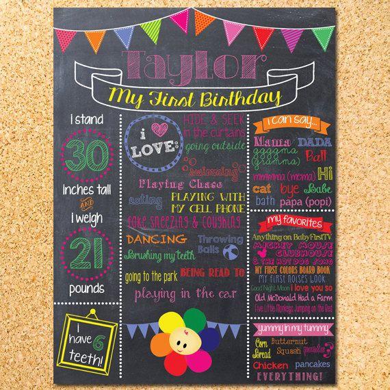 BabyFirstTV Inspired Chalkboard First Birthday Poster - Customizable - Printable by OwenandSally on Etsy