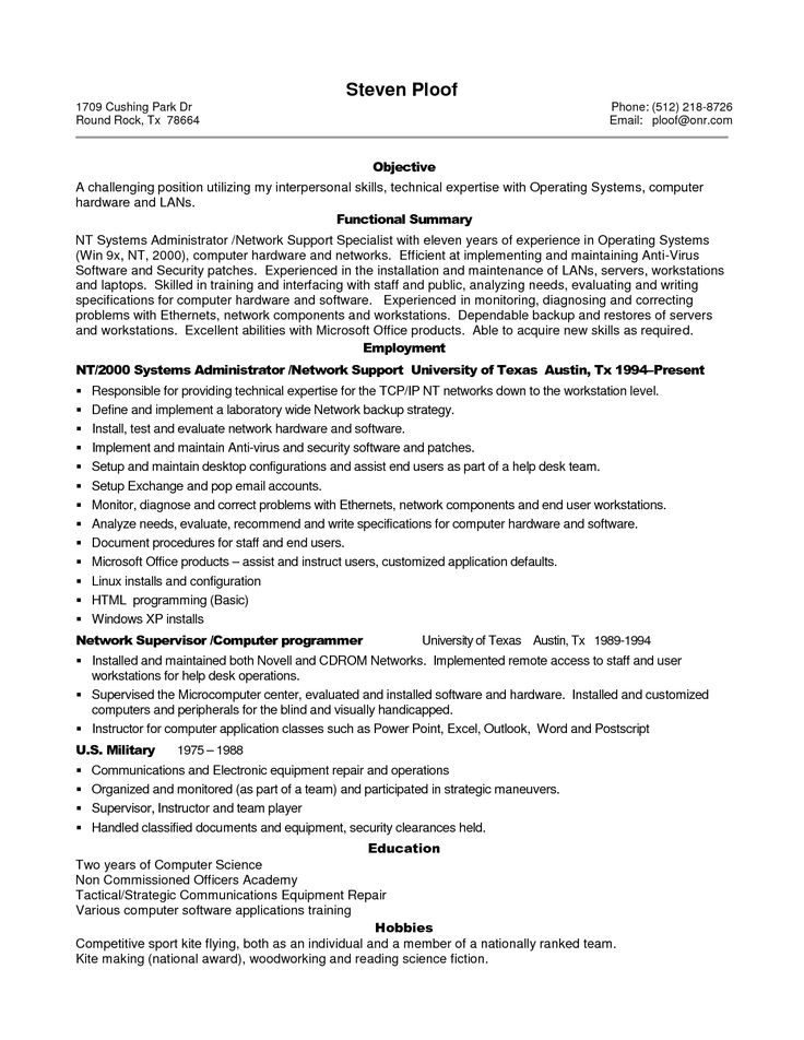 134 best Best Resume Template images on Pinterest Resume - computer systems security officer sample resume