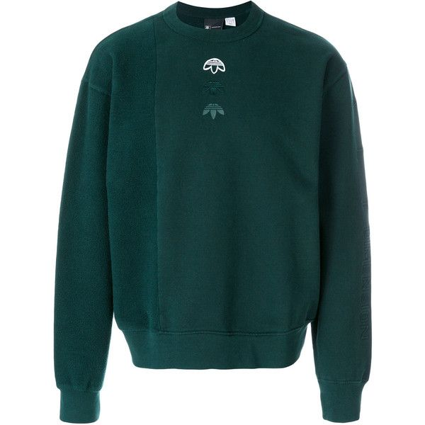 Adidas Originals By Alexander Inside Out sweatshirt (340 CAD) ❤ liked on Polyvore featuring tops, hoodies, sweatshirts, green, cotton sweatshirts, green sweatshirt, green long sleeve top, long sleeve cotton tops and round neck sweatshirt