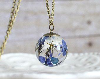 Flower sphere necklace nature inspired jewelry por EightAcorns