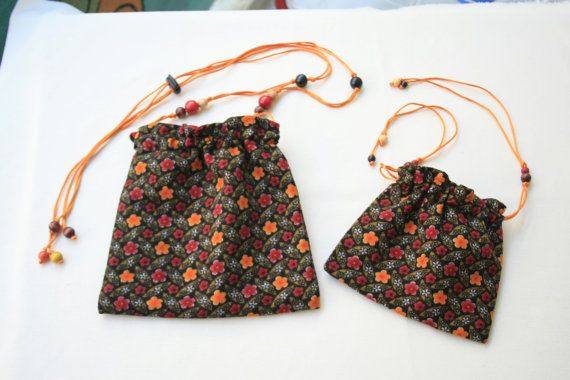 Dual-sided joyful twin bags. Red Yellow Brown. 21 x by KirkeCraft