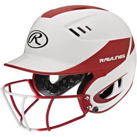 Rawlings Velo Junior 2-Tone Home Softball Helmet with Mask, Red