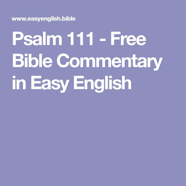 Psalm 111 - Free Bible Commentary in Easy English