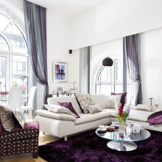 Glamourous living room: Idea, Purple Accent, Living Rooms Window, New Rooms, Colors Palettes, Living Rooms Colors, Window Treatments, Colour Schemes, Shag Rugs