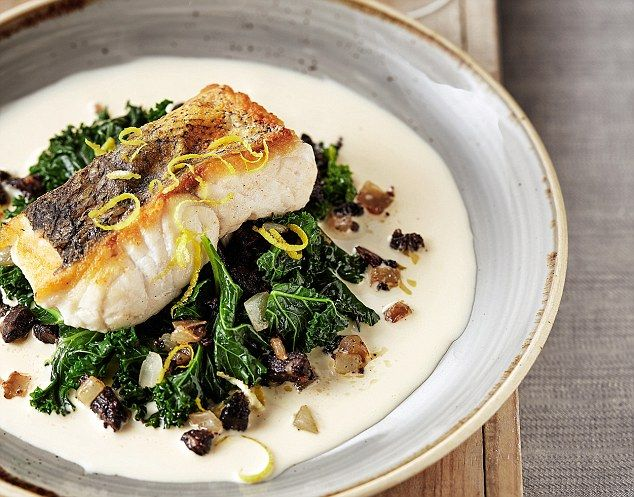 Pan-Fried Hake with Black Pudding and White Wine Sauce - get recipe here: http://www.dailymail.co.uk/femail/food/article-3860010/Gordon-bleu-Pan-fried-hake-black-pudding-white-wine-sauce.html