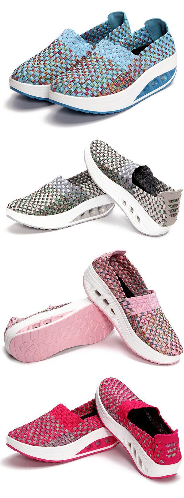 $24.40 Platform Color Match Casual Rocker Sole Sport Slip On Shoes,sport shoes women,sport shoes outfit,sport shoes fashion,running sport shoes