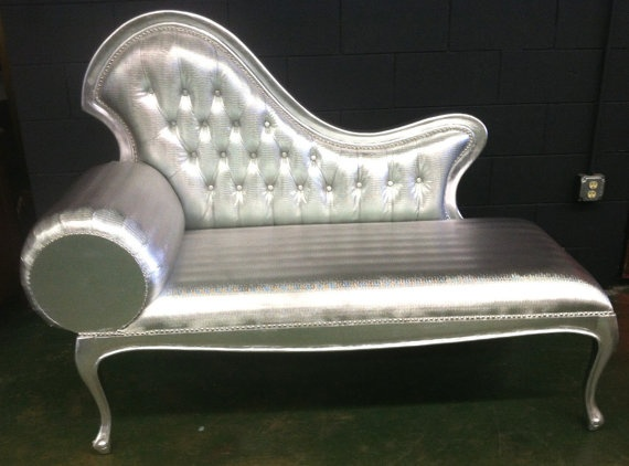 Silver Snake Skin Two Seater Chaise Lounge