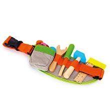 Werkzeuggürtel für Kinder mit vier verschiedenen Werkzeugen sowie Schrauben und Muttern, mit verstellbarem Gurt.