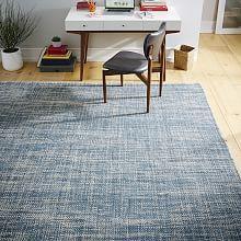 Mid-Century Heathered Basketweave Wool Rug - Midnight