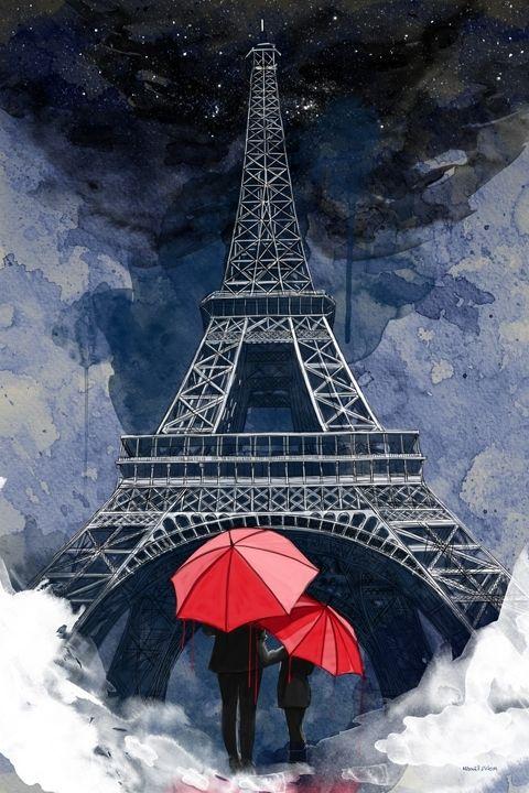 Rainy Night in Paris wall art Modern Wall Art Print Artwork Wall Art for Sale