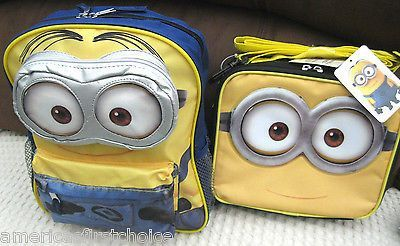 Despicable Me 2 Minions Toddler Backpack & Minions Lunch Box Universal-New Tags