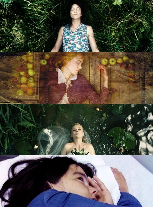"""From the top: Charlotte Gainsbourg as She in The Antichrist (2009); Nicole Kidman as Grace Margaret Mulligan in Dogville (2003); Kirsten Dunst as Justine in Melancholia (2011); Björk as Selma Jezkova in Dancer in the Dark (2000) all directed by Lars von Trier. """"There's no more to see"""" by Maria 2012"""