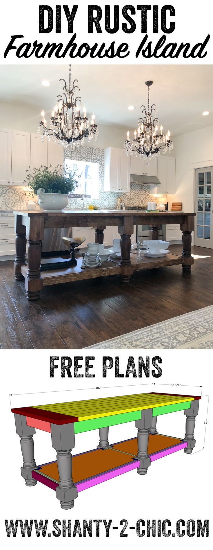 Free plans and how-to video to build this beautiful 8.5' farmhouse style kitchen island! This island can be modified to fit your space! Get the how-to at www.shanty-2-chic.com via @shanty2chic #woodworkingprojects