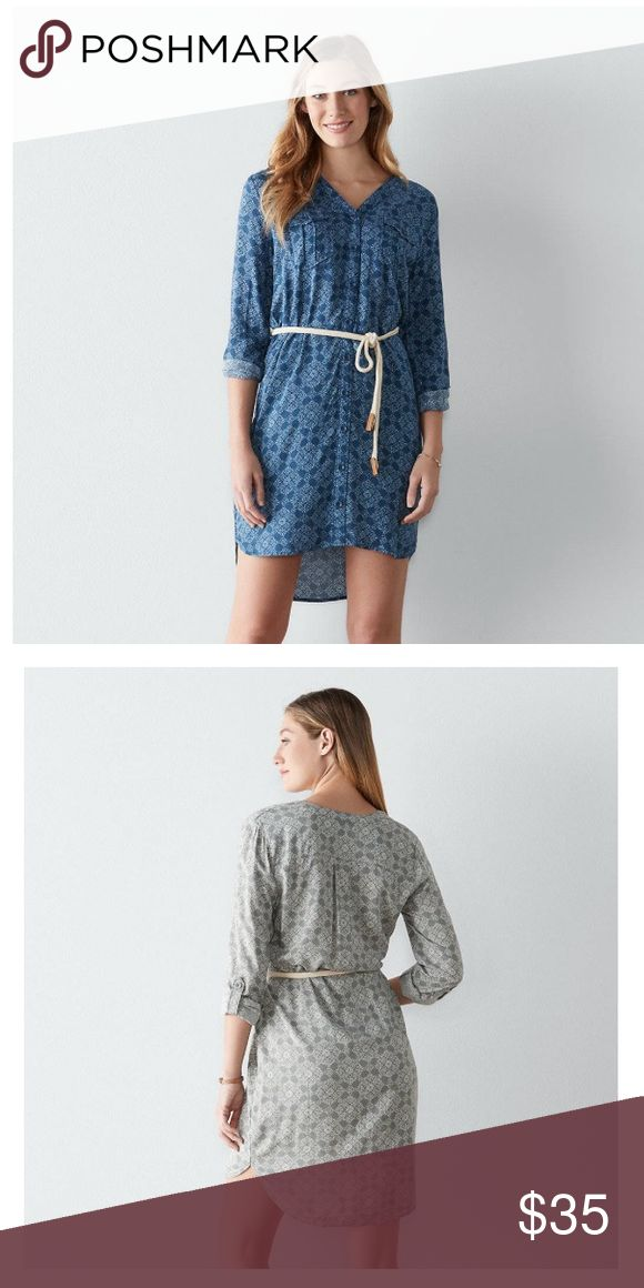 New dress 👗 size L and M color blue Give your casual style a refreshing boost with this women's shirtdress, various sizes  PRODUCT FEATURES Ornate print 2-pocket Button front Button tab sleeves roll from long to 3/4-length Unlined Dresses Long Sleeve