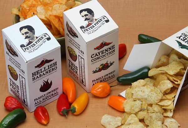 Package designed for Peter Piper's Peck of Peppered Potato Chips. The chips come in 3 different flavors with increasing levels of spice. Honey Jalapeno is the first level. Cayenne Concoction is the second level. And Hellish Habanero is the third level.