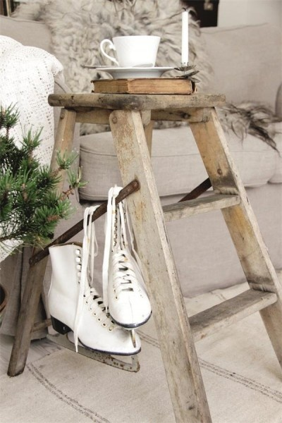 Winter decor - Vignette with Ice skate, ladder, candle, tea cup