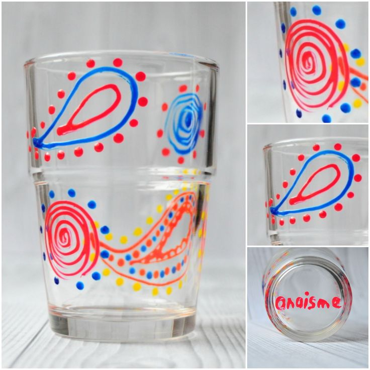 linii curbe si petale, mici bobite de mustar se arata pe pahar. hand painted glass by anaisme (red, yellow, blue)